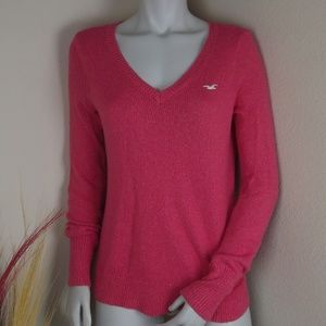 Hollister Beautiful Bright Pink V-Neck Sweater